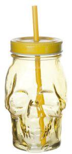 Skull Glas Yellow